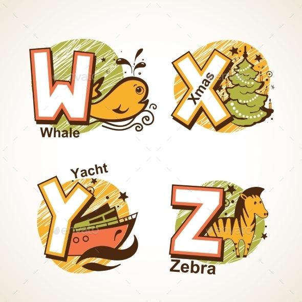GraphicRiver Alphabet Set from W to Z 9484490