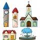 A Clock Tower, Church, House and Fountain - GraphicRiver Item for Sale