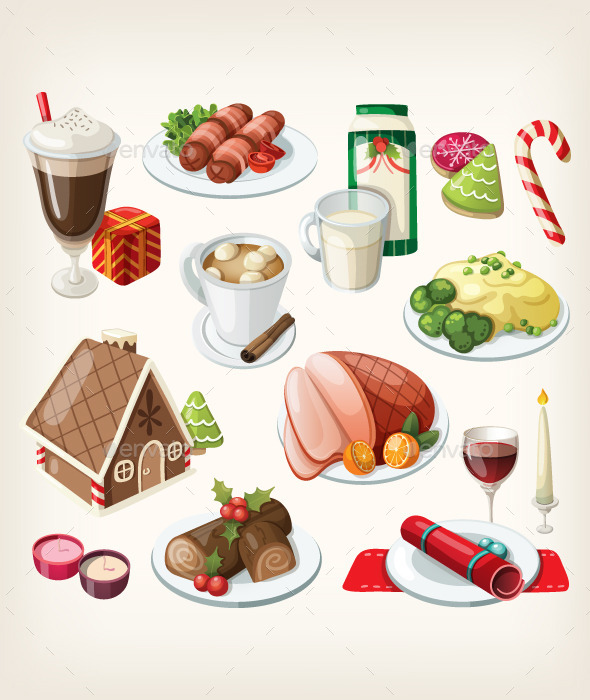 GraphicRiver Set of Traditional Christmas Food and Desserts 9484876