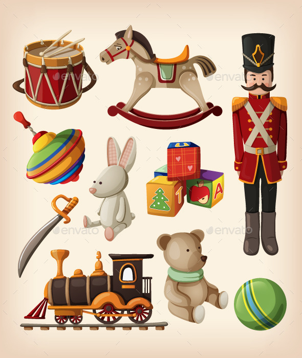 GraphicRiver Set of Colorful Vintage Christmas Toys 9485129