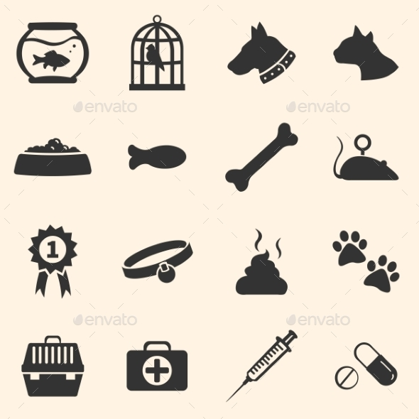GraphicRiver Vector Set of Pets Icons 9485158