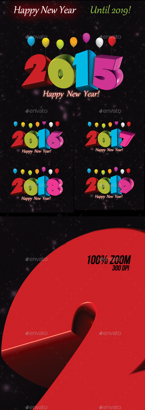 Happy New Year Set Until 2019 - Text 3D Renders