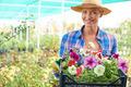 Female with petunias - PhotoDune Item for Sale