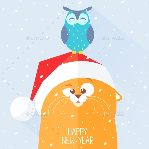 GraphicRiver Cat New Year 9485509