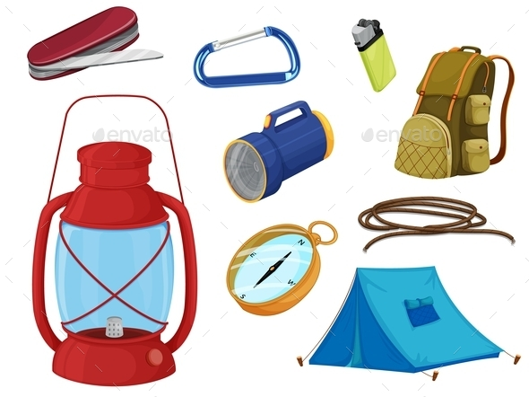 GraphicRiver Various Objects of Camping 9485839