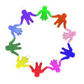 Plenty of colorful people standing in a circle hand in hand - PhotoDune Item for Sale