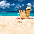 Beautiful beach with bag at Seychelles - PhotoDune Item for Sale
