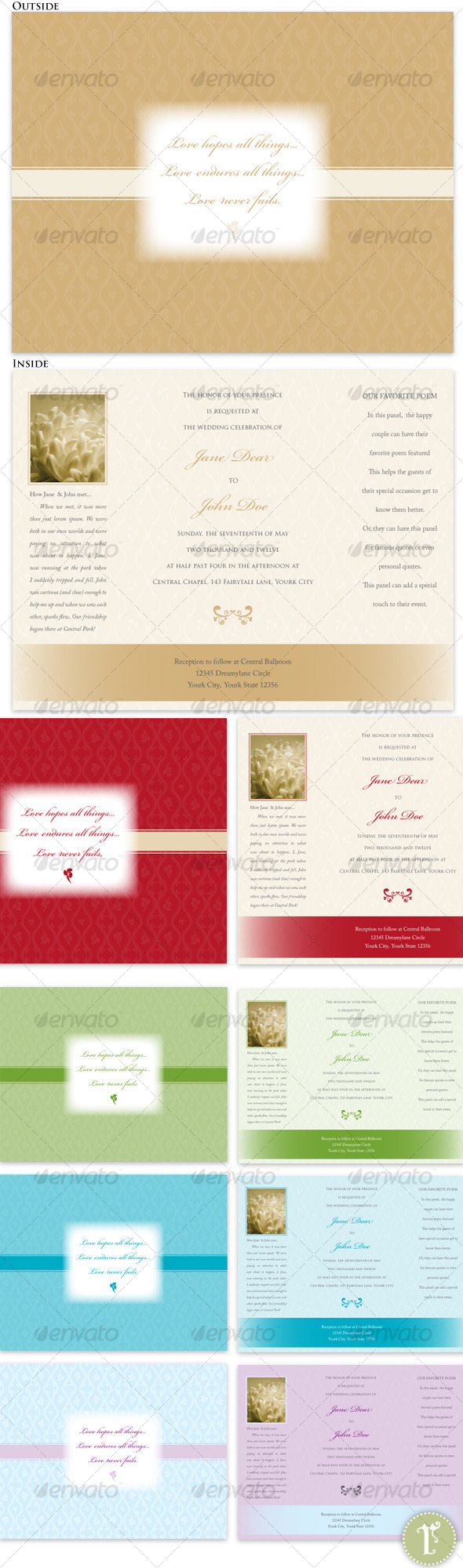 Trifold Wedding Invitations-Tan, Red, Teal, Green