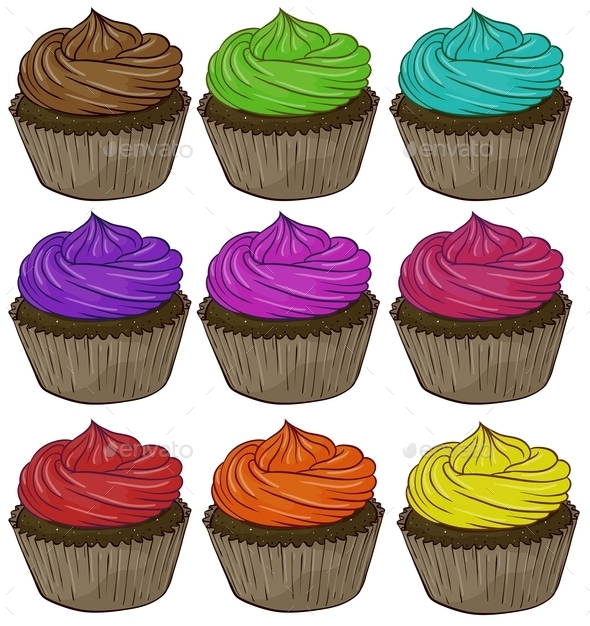 GraphicRiver Colorful Cupcakes 9486325