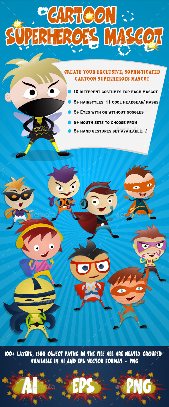 GraphicRiver Cartoon Superheroes Mascot 9487394