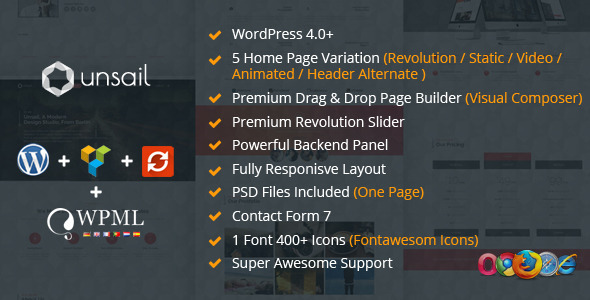 ThemeForest Unsail One Page WordPress Parallax Theme 9410826