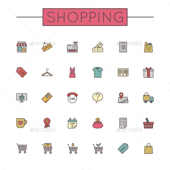 GraphicRiver Vector Colored Shopping Line Icons 9487793