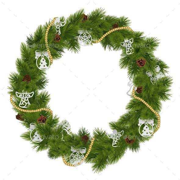 GraphicRiver Vector Christmas Wreath with Decorations 9487814