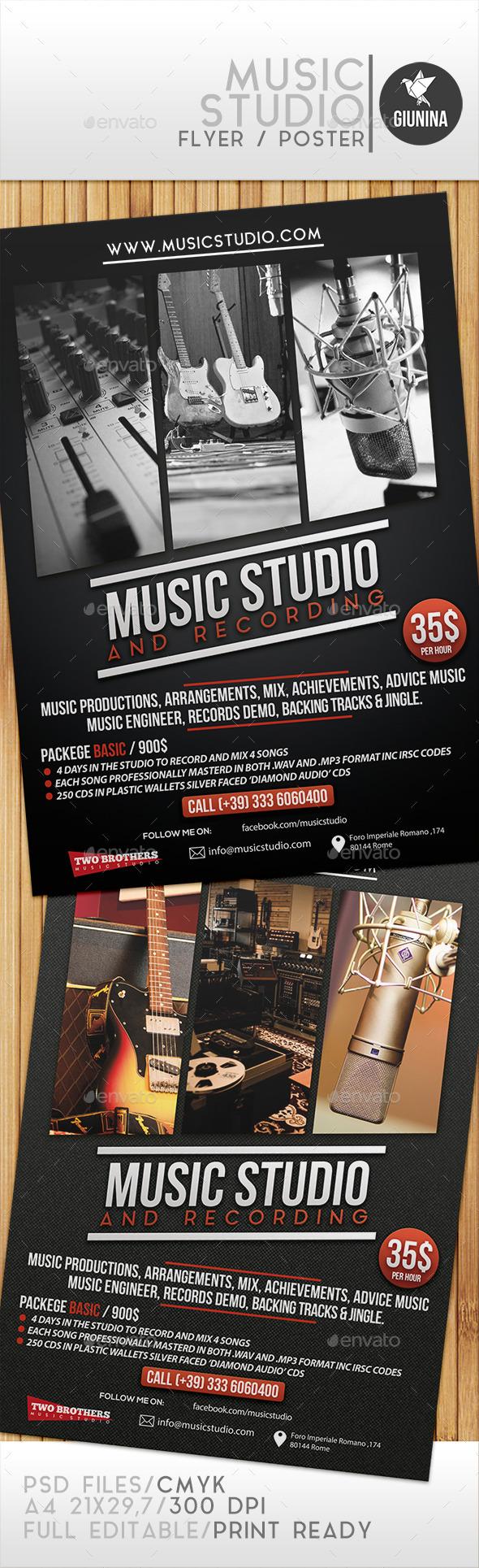 GraphicRiver Music Studio Flyer Poster 9445821