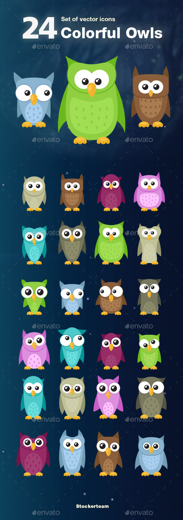 GraphicRiver Set of 24 Colorful Owls 9489016
