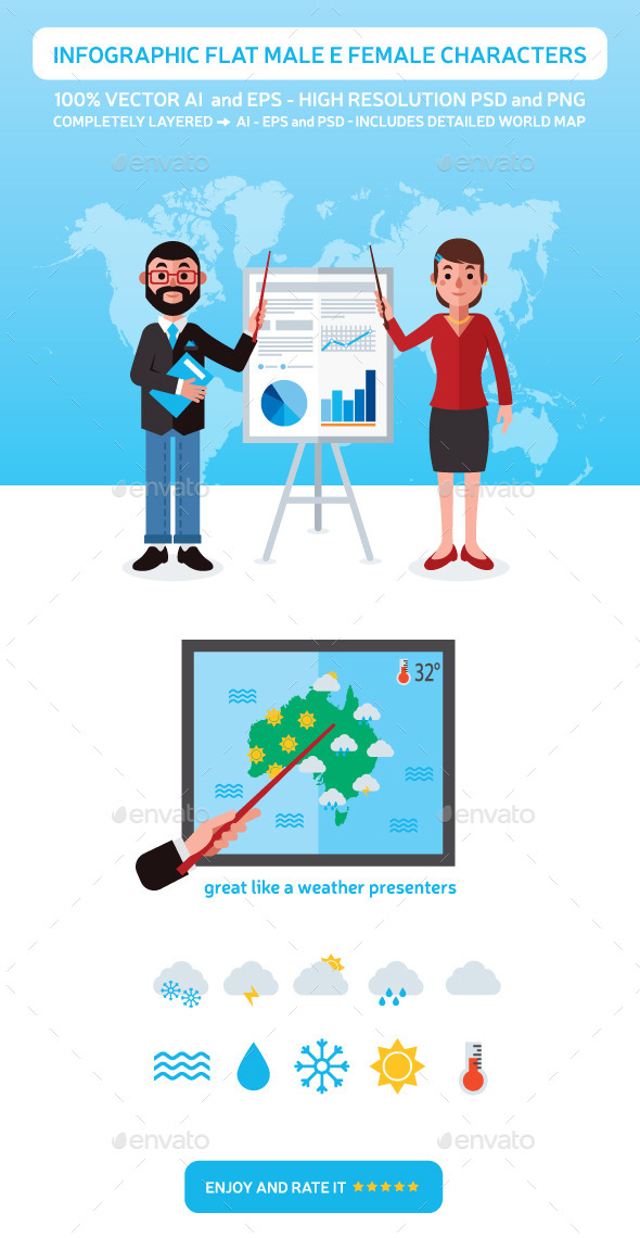 GraphicRiver Infographic Flat Male and Female Characters 9489130
