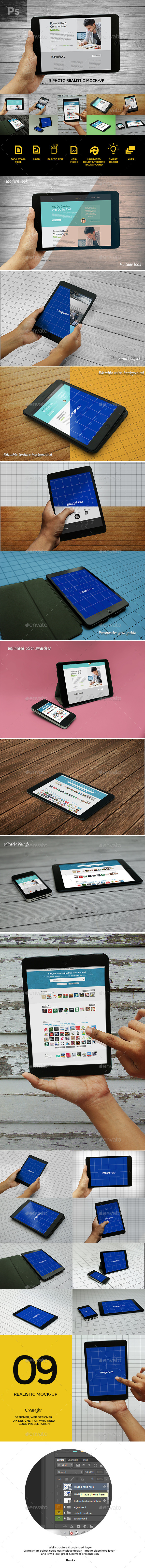 GraphicRiver 9 Photo Realistic Tablet Phone Mockups 9440418