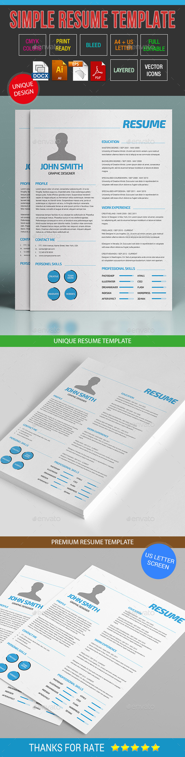 GraphicRiver Simple Resume Template 13 9444482