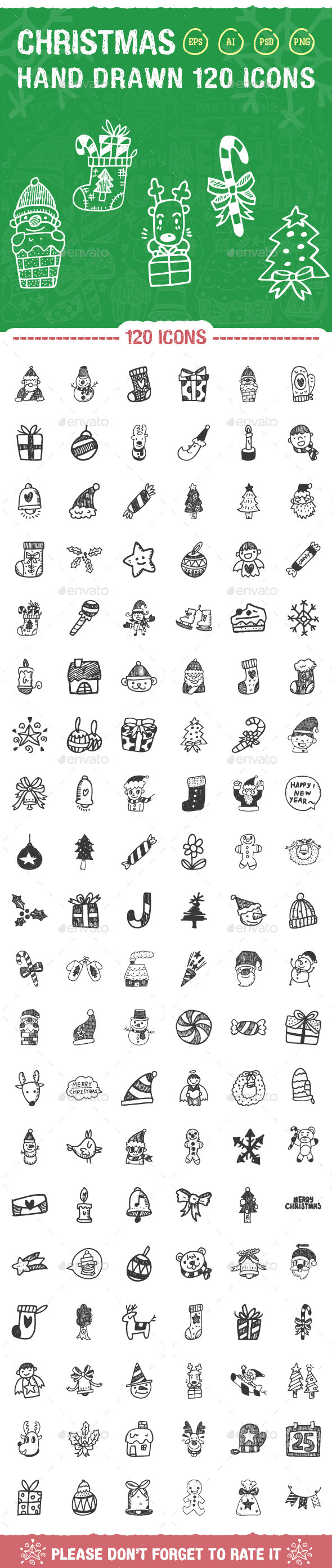 GraphicRiver 120 Hand Drawn Christmas Icons 9490223