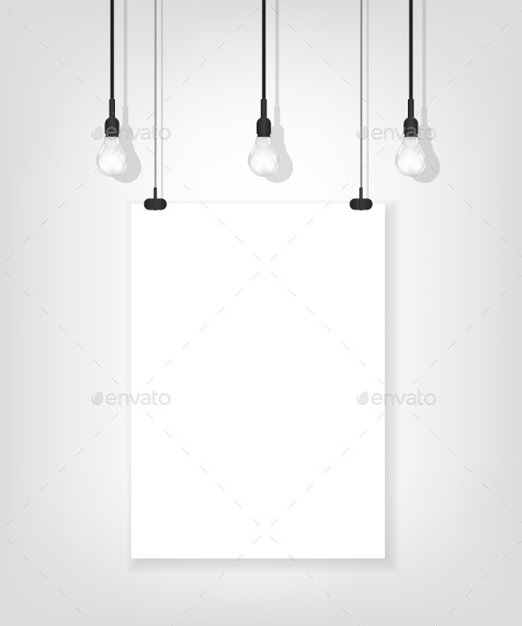 GraphicRiver White Poster on Wall and Bulb 9490657