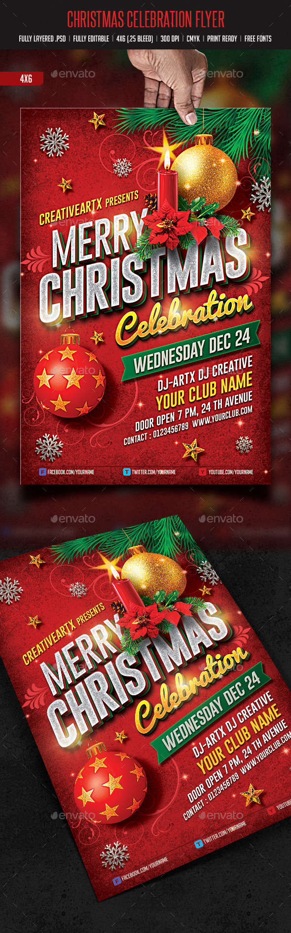 GraphicRiver Merry Christmas Celebration Flyer 9490752
