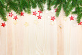 Christmas wooden background with fir tree and stars - PhotoDune Item for Sale