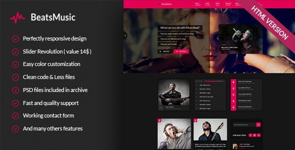 ThemeForest BeatsMusic Music Band Club Party Responsive Template 9358354