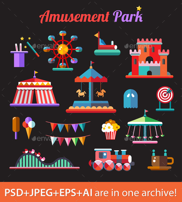 GraphicRiver Amusement Park Icons 9444499