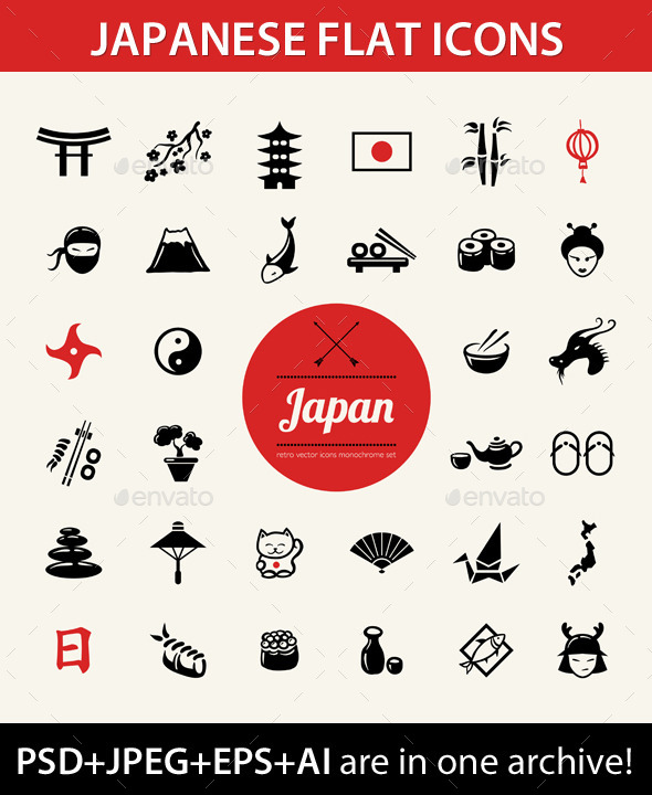 GraphicRiver Japanese Icons Set 9444497