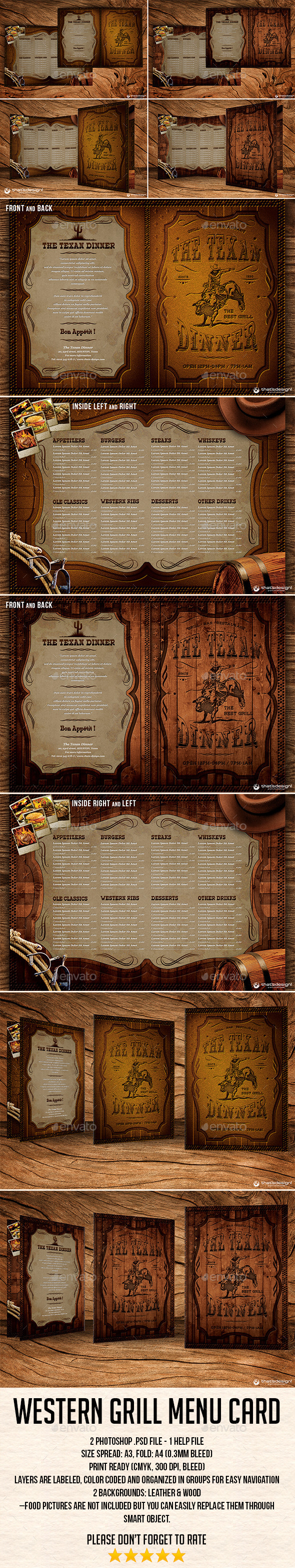 GraphicRiver Western Grill Restaurant Menu Card Template 9491285
