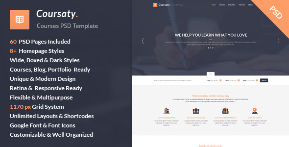 Coursaty - Awesome PSD Template - Corporate PSD Templates