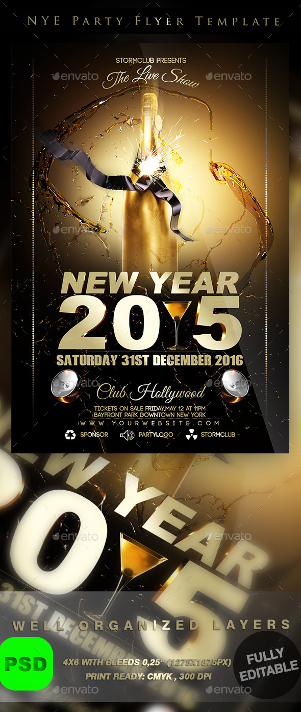 GraphicRiver NYE Party Flyer Template 9491425