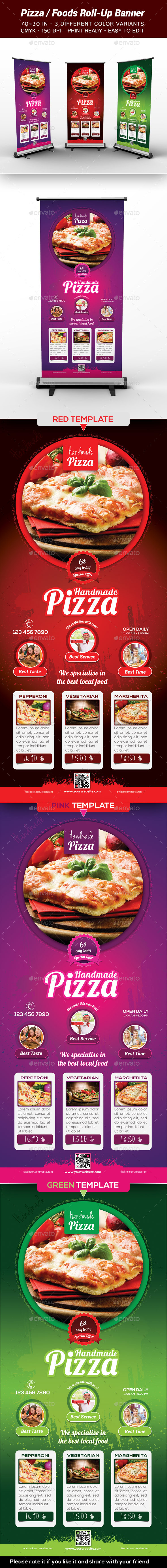 GraphicRiver Pizza Food Roll-Up Banner 9450073