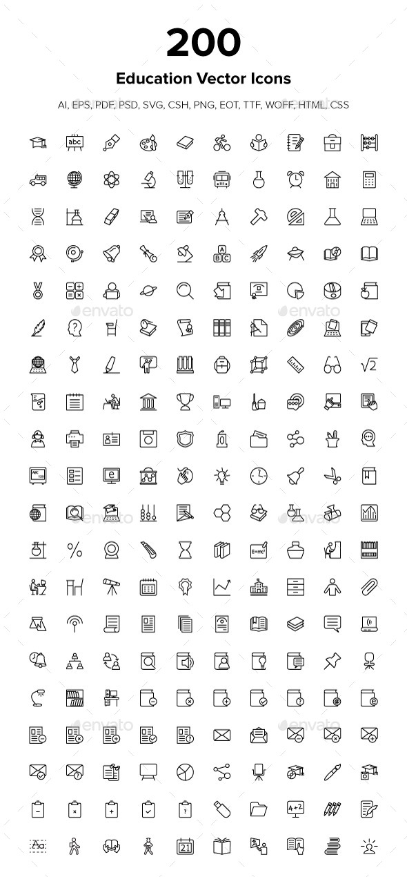 GraphicRiver 200 Education Icons 9491621