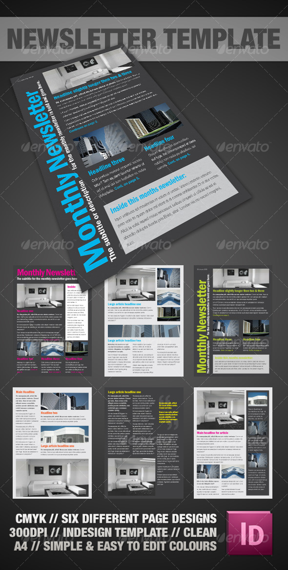 Clear A4 Newsletter InDesign