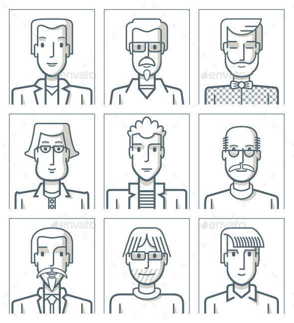 GraphicRiver Nine Male Avatars 9491826