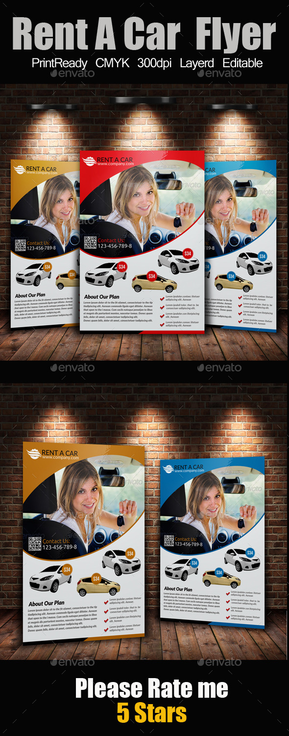 GraphicRiver Rent A Car Flyer 9347840