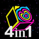 Neon Cube Disco Loop (4-Pack) - VideoHive Item for Sale