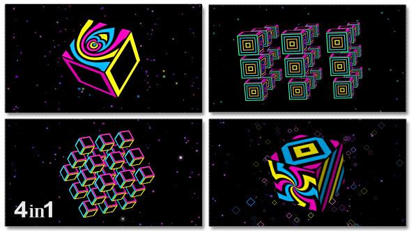 Neon Cube Disco Loop 4-Pack