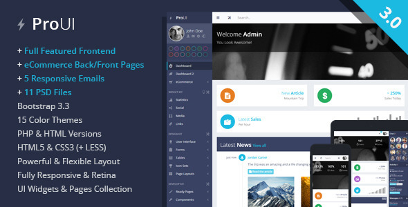 ProUI - Responsive Bootstrap Admin Template - Admin Templates Site Templates