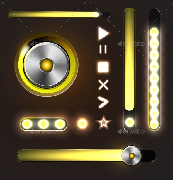 GraphicRiver Equalizer and Player Metal Buttons with Track Bar 9492137