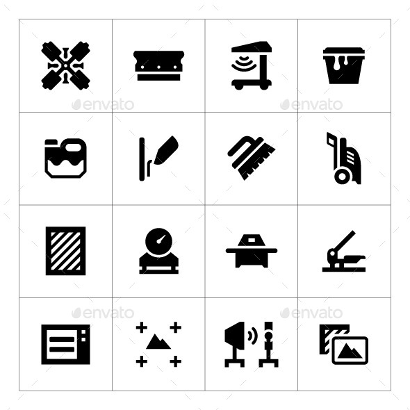GraphicRiver Set Icons of Screen Printing 9492244