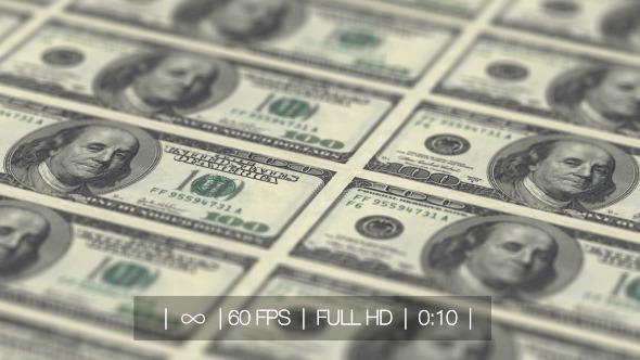 Hundred Dollars Banknotes Conveyor