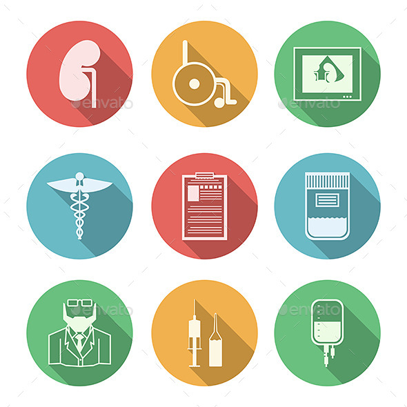 GraphicRiver Colored Icons for Nephrology 9492676