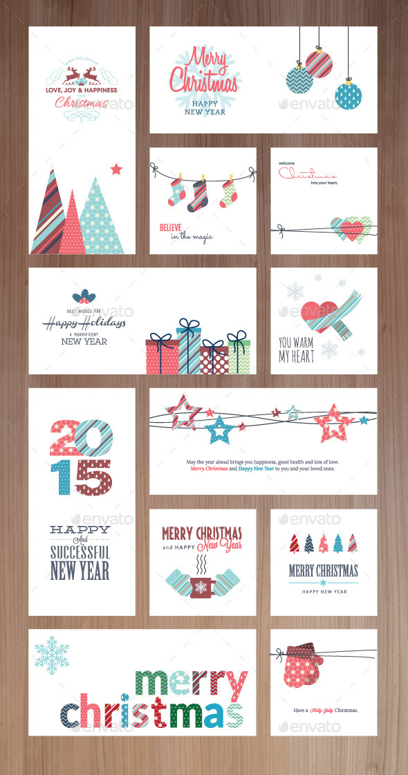 GraphicRiver Christmas and New Year Greeting Cards and Banners 9492855
