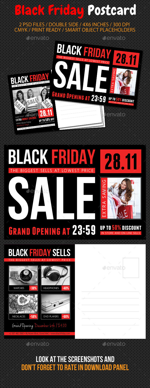 GraphicRiver Black Friday Postcard Template V02 9493000