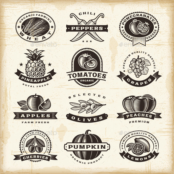 GraphicRiver Vintage Fruits And Vegetables Labels Set 9493016