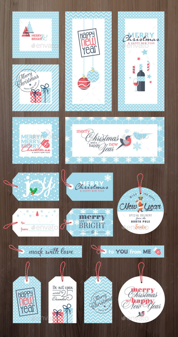 GraphicRiver Christmas and New Year Greeting Cards and Tags 9493104