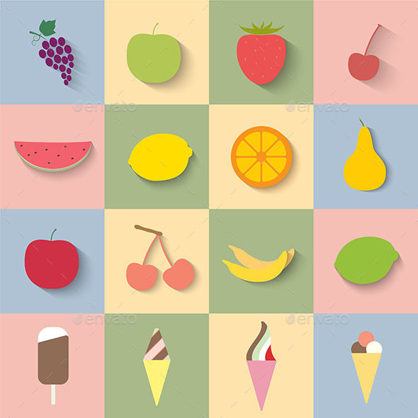 GraphicRiver Fruit and Ice Cream Icons 9493194