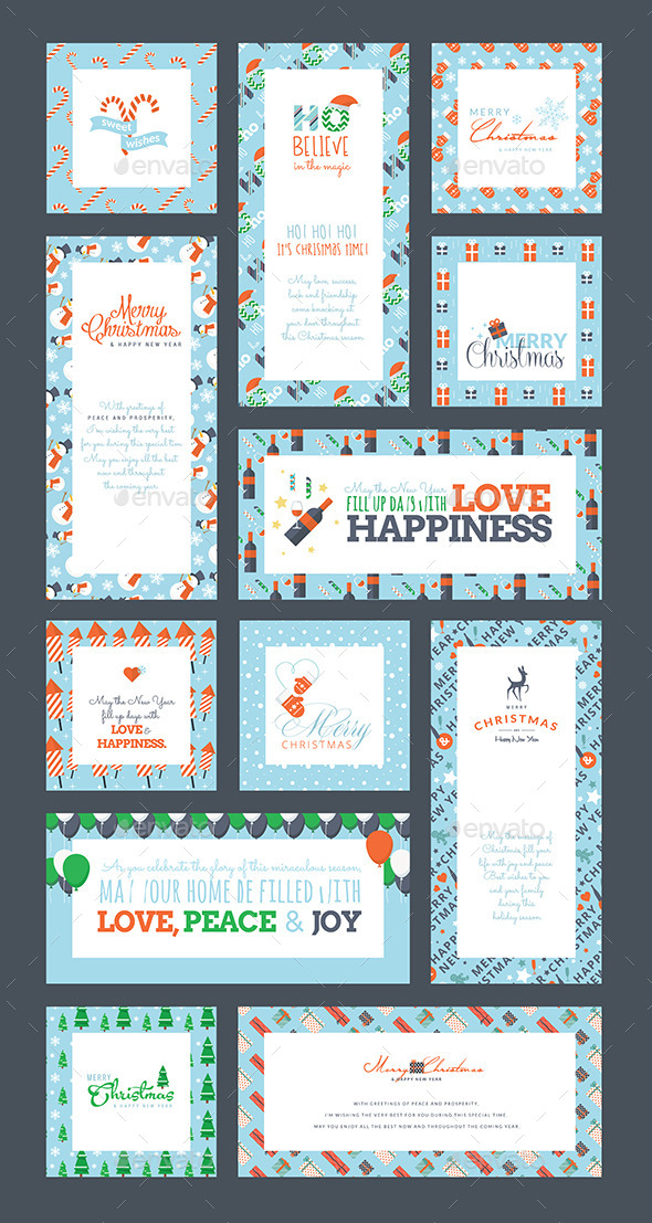GraphicRiver Set of Christmas and New Year Greeting Cards 9493216